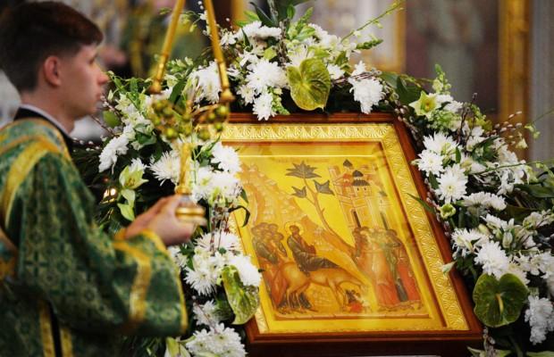 Патриаршее служение в канун Вербного воскресенья в Храме Христа Спасителя