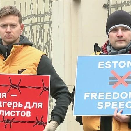 В Москве проходят новые одиночные пикеты в поддержку журналистов агентства «Спутник Эстония»